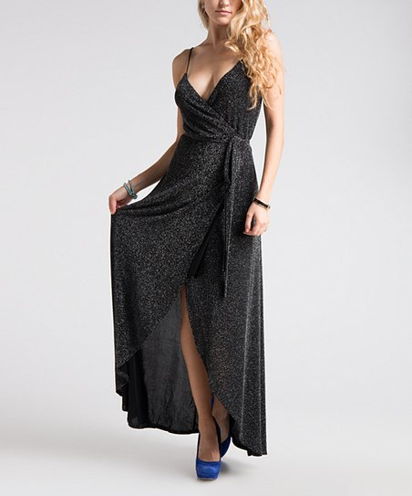 bbcfb3e6 Fashionomics Black Glitter Wrap Maxi Dress   Zulily