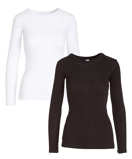 love this product White   Black Long-Sleeve Crew Neck Top Set - Women f36c10955
