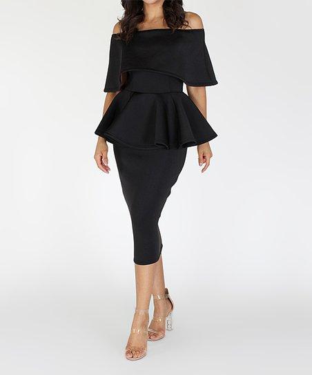 f84b39af11 EiEN APPAREL Black Off-Shoulder Peplum Sheath Dress   Zulily