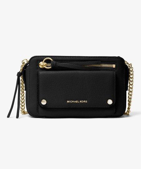 8539ef32f09b Michael Kors Black Mitchell Leather Crossbody Bag | Zulily