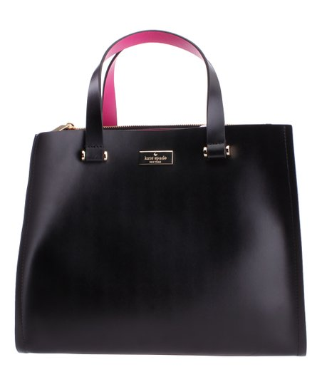 16ca675b7dee Kate Spade Black   Sweetheart Pink Kyra Arbour Hill Leather Tote ...
