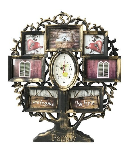 Above Edge Brass Family Tree Collage Frame Stand Clock Zulily