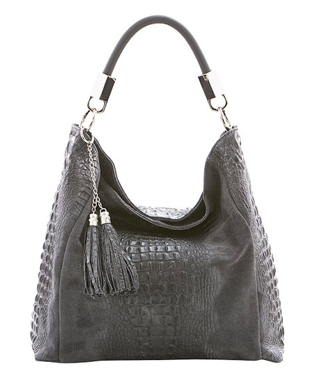 81a74a2d1 Lucca Baldi Dark Gray Tassel Croc-Embossed Leather Hobo | Zulily