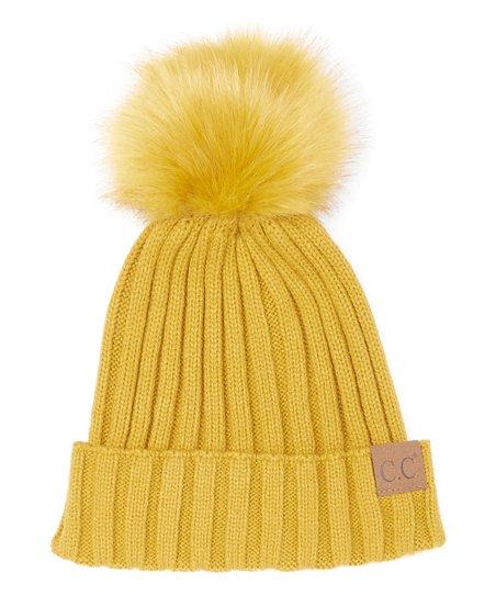 C.C® Mustard Faux Fur Pom-Pom Beanie  c6f20a68b3f0