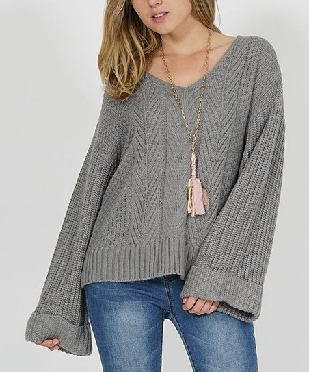 7f30baf8 love this product Heather Gray Oversize Bell-Sleeve Cable-Knit Sweater -  Women