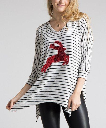 ec8d534f928 Fashionomics White & Black Stripe Sequin Deer V-Neck Tunic   Zulily