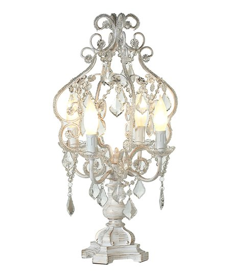 White Gold Brush Chandelier Table Lamp Zulily
