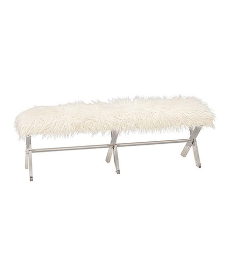 Wondrous Uma White Faux Fur Acrylic Bench Zulily Uwap Interior Chair Design Uwaporg