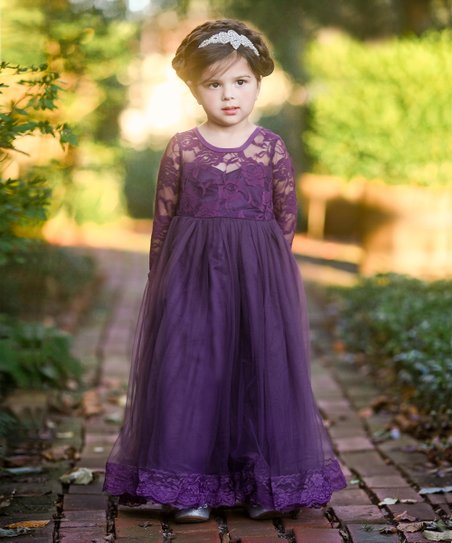 211d09e45 Just Couture Dark Purple Isabelle Gown - Toddler   Girls