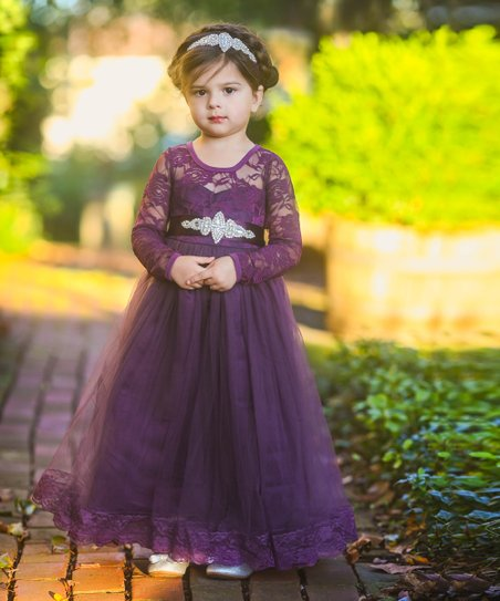 21c85e7f7496 Just Couture Dark Purple Isabelle A-Line Dress   Sash - Toddler ...