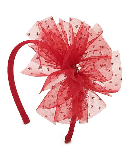Fairy Bow Mother Red Shimmer Tulle Headband  c06a975788e