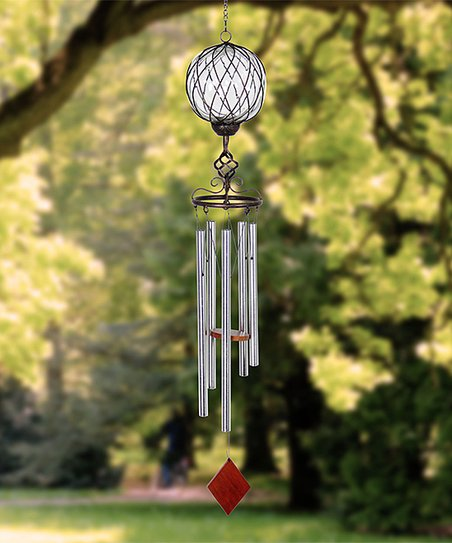 Exhart Caged Glass & Metal Solar Light-Up Wind Chime