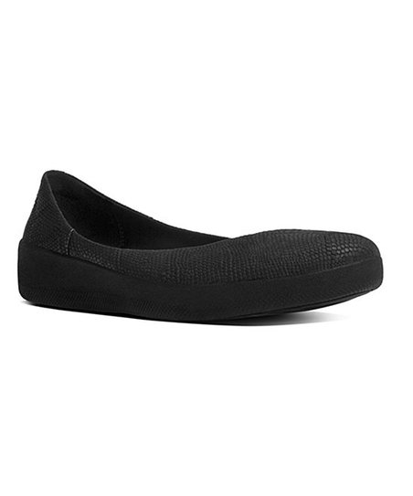 b81ed9b5f2506c FitFlop Black Snake-Embossed Superballerina Leather Flat - Women ...