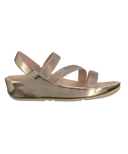 38f40d55dc715 love this product Rose Gold Crystall Z-Strap Leather Sandal - Women