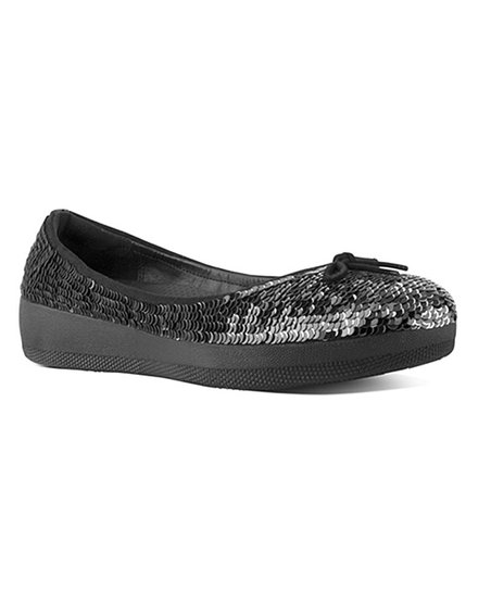 43c8dae13 FitFlop Black Sequin Superballerina Leather Flat - Women
