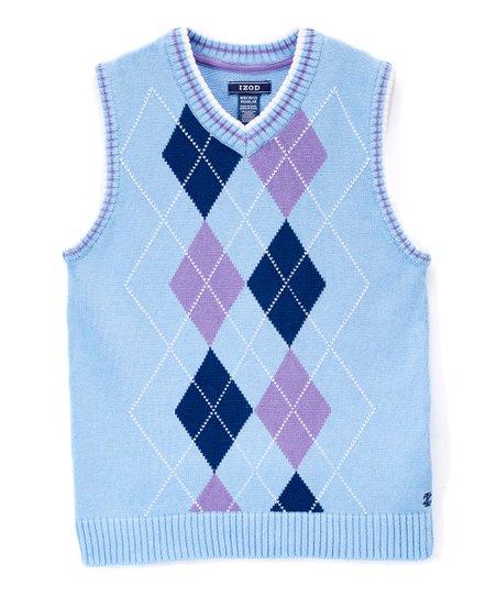 Izod Blue Purple Argyle Sweater Vest Boys Zulily