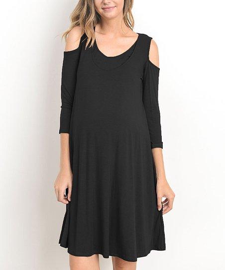 e00a0213219b1 Hello Miz Maternity Black Cold Shoulder Maternity/Nursing Dress | Zulily