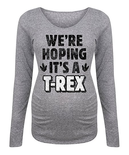 9e7606f3 love this product Athletic Heather 'Hoping It's a T-Rex' Maternity Long-Sleeve  Tee
