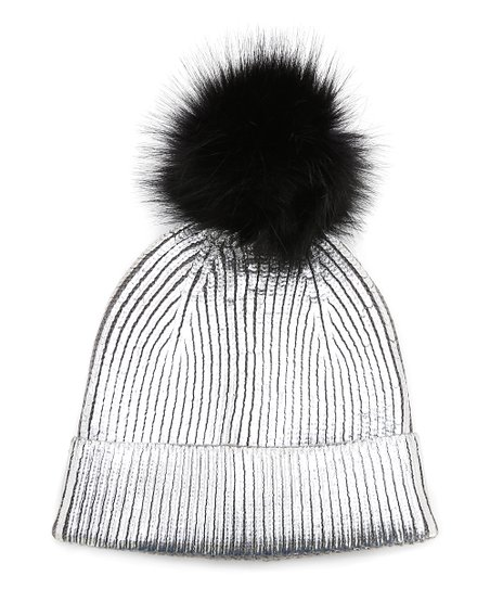 a141e1701f0 love this product Silver Ribbed Pom-Pom Cuff Beanie