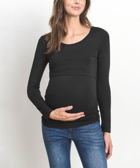 09453509a41a2 Hello Miz Maternity Black Side-Ruched Maternity/Nursing Long-Sleeve ...