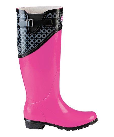 hot sale hot products best online Puddletons® Black & Pink Rain Boots - Women