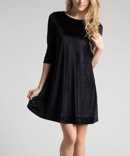 Fashionomics Black Velvet Swing Dress - Women  52e5c87caf