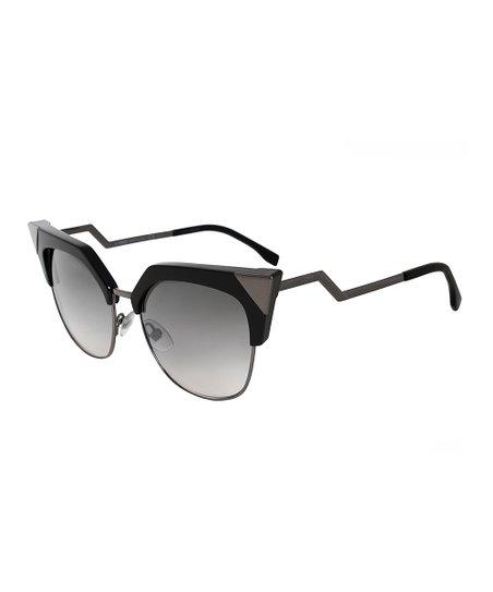 c33771bf5f29 Fendi Black   Gunmetal Square Cat-Eye Sunglasses