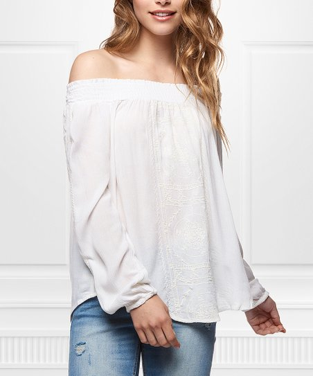Devoted Ivory Off Shoulder Peasant Top Women Zulily