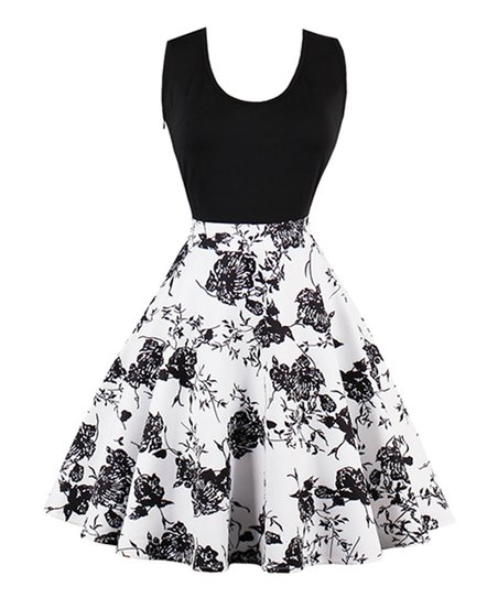 a76b2bf9e0cc love this product Black & White Floral Fit & Flare Dress - Women