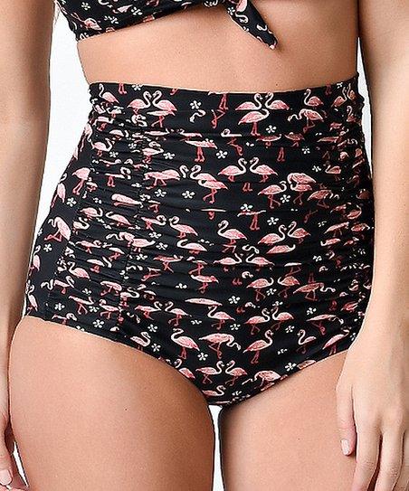 cdbd1510ee4 Unique Vintage Black Flamingo Monroe High-Waist Bikini Bottoms