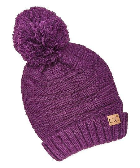 C.C® Dark Purple Pom-Pom Beanie  21a9d5bbc1c
