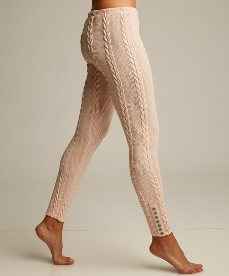 17456c41f9e48 Lemon Legwear Rosewater Plush Cable-Knit Leggings - Women | Zulily