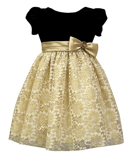 42df718ca9f3 love this product Black & Gold Lace-Overlay Puff-Sleeve Dress - Girls
