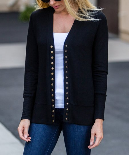 cheap top-rated newest newest selection Amaryllis Black Snap-Front Cardigan - Women