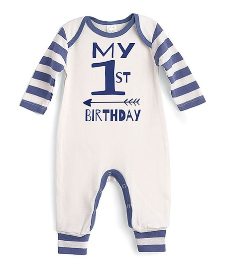 c32fa7a4558 love this product Ivory   Blue Stripe  My 1st Birthday  Playsuit - Newborn    Infant