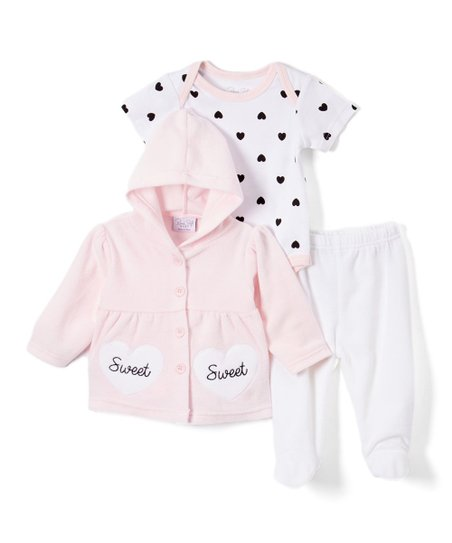 13edb4bbd bon bébé Light Pink   White Sweet Heart Hooded Jacket Set - Infant ...