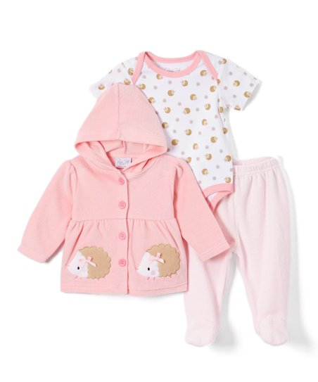 9de204569 René Rofé Baby Light Pink   White Hedgehog Hooded Jacket Set ...