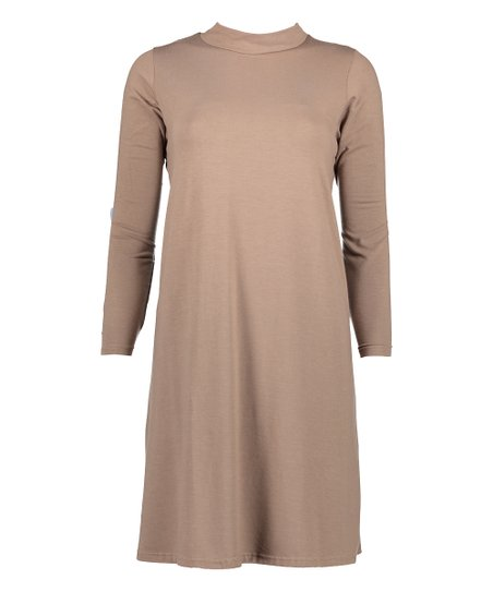 7c3f2e480691 jon & anna Taupe Mock Neck Tunic Dress - Plus | Zulily
