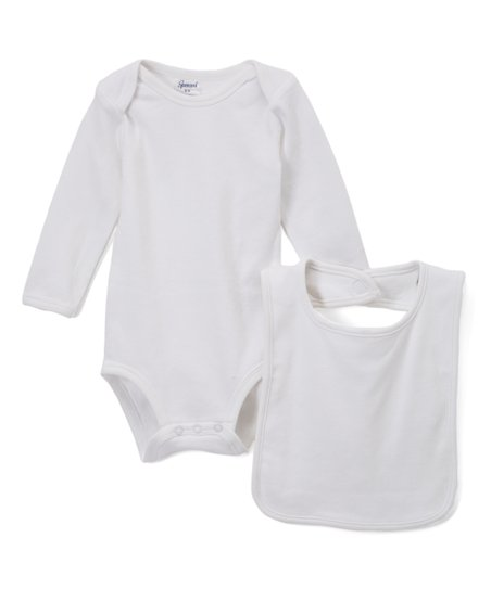love this product White Long-Sleeve Bodysuit   Bib Set - Infant 32bd77c6f3