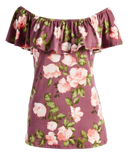 4256fb2f769 love this product Burgundy & Pink Floral Off-Shoulder Top - Plus