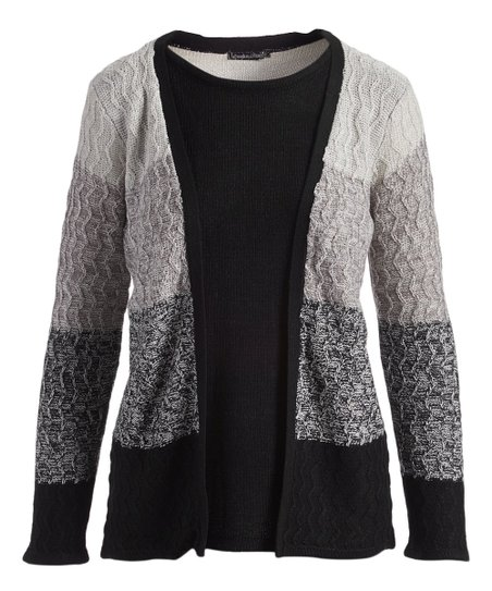49ad4e4a30 Evelyn Taylor Black   Gray Melange Stripe Mock Cardigan Pullover ...