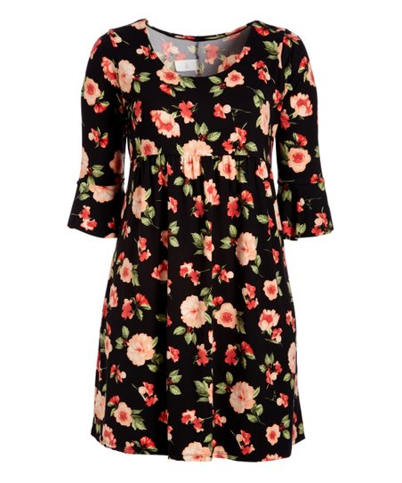 dee753d2b0fa love this product Black & Pink Floral Ruffle-Sleeve Empire-Waist Dress -  Women & Plus