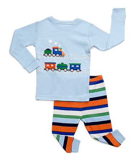 5350c5c09c48 DinoDee Baby Blue Train Pajama Set - Toddler   Boys
