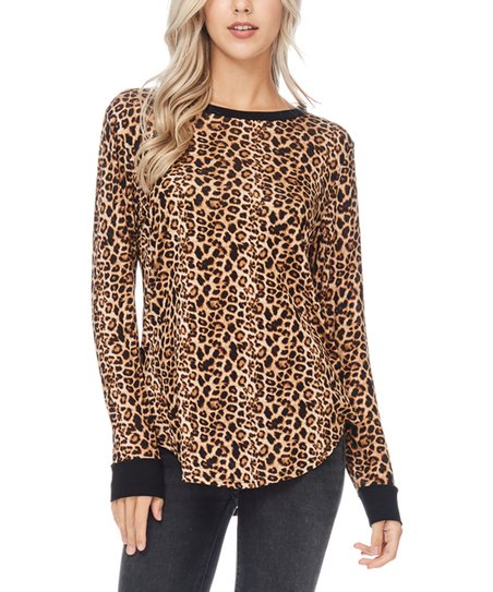 a7f6539a2d6f79 BOMBOM Brown Leopard Curved-Hem Crewneck Top - Women | Zulily