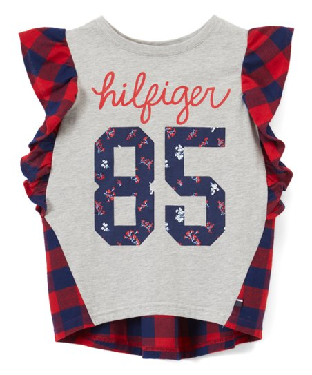 261575d1 Tommy Hilfiger Bulls Eye Red Mix Media Flutter-Sleeve Top - Girls ...