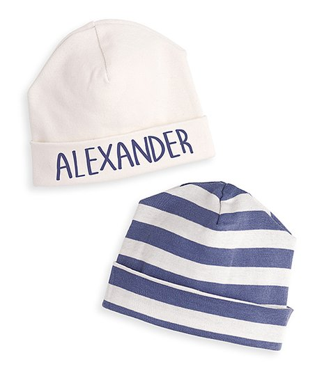 love this product Ivory   Blue Stripe Personalized Beanie Set - Newborn    Infant 6a26fa0c9c2