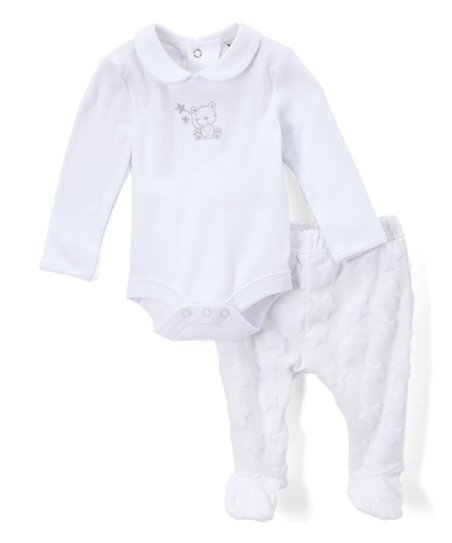 f8dd5372f97a Rock A Bye Baby White Star Collared Bodysuit & Footie Pants - Infant ...