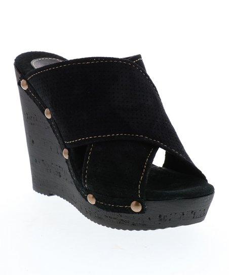 c57c417bd4 Sbicca Black Crisscross-Front Declan Suede Wedge Sandal - Women | Zulily