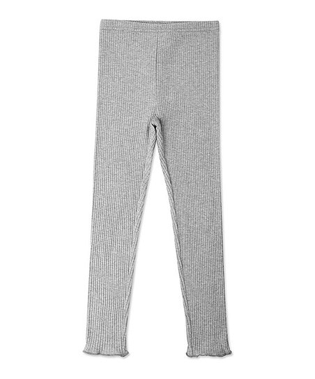d29642823a40d love this product Heather Gray Ribbed Raw Edge Leggings - Toddler & Girls
