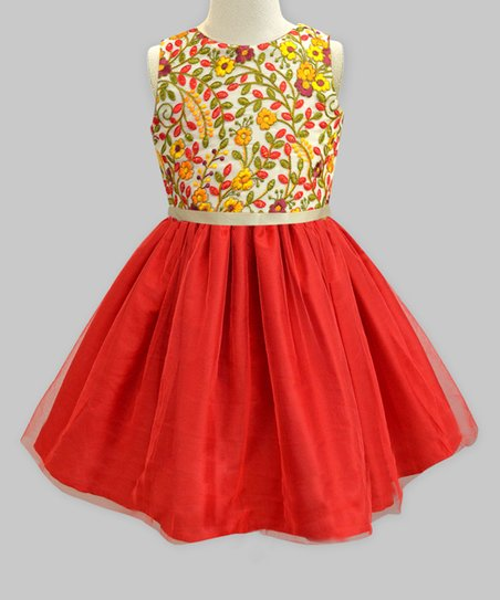 5f360de71 love this product Red & Amber Kashmir Floral Embroidered Tulle-Overlay  A-Line Dress - Infant, Toddler & Girls